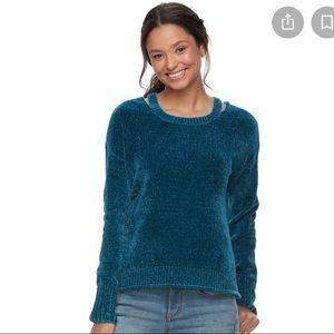 Mudd Chenille Pullover Crewneck Sweater Blue S